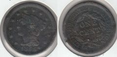 1855 LARGE CENT NOB ON EAR, SCARCE