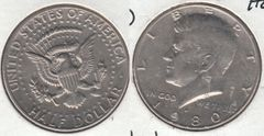 1980D KENNEDY HALF DOLLAR MISSING DESIGNER INITIALS ON REVERSE