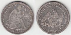 1854ARR SEATED HALF DOLLAR VG DETAIL