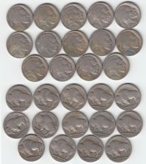 STARTER SET 14 DIFF BUFFALO NICKELS INCLUDING KEY DATES