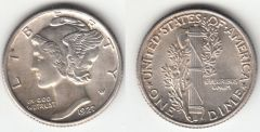 GORGEOUS BU 1927 MERCURY DIME SPLIT BANDS