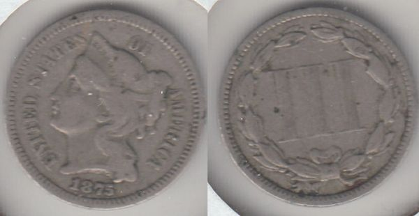 LOW MINTAGE SCARCE DATE 1875 THREE CENT NICKEL