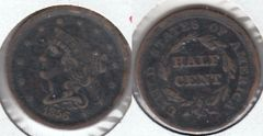 1856 HALF CENT LOW MINTAGE SCARCE DATE