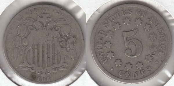 NICE COLLECTIBLE 1868 SHIELD NICKEL