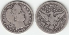 NICE G-VG 1908S BARBER QUARTER BETTER DATE