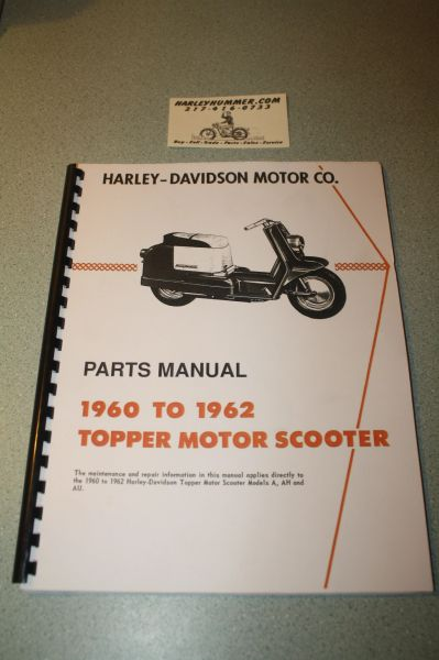 Harley Davidson Topper Parts Book Manual 1960 - 1962
