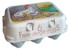 FREE RANGE WHITE FLAT TOP, PRE PRINTED EGG BOXES