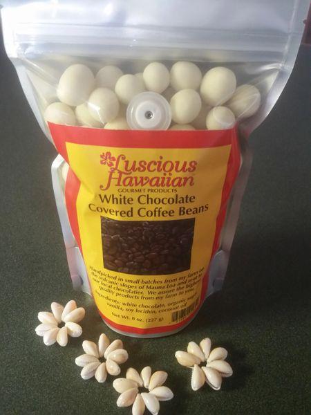 White Chocolate Covered 100% Kona Coffee Beans 8oz