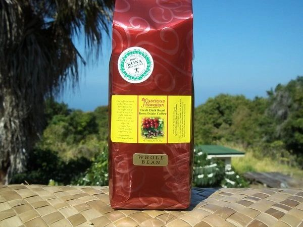 100% Kona Coffee Medium Dark Roast Whole Bean 16oz
