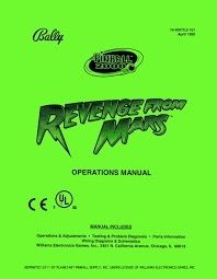 REVENGE FROM MARS PINBALL MANUAL (REPRINT)