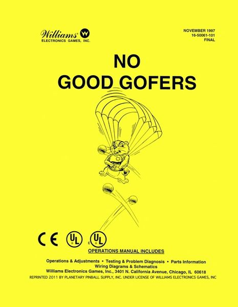 NO GOOD GOFERS PINBALL MANUAL (REPRINT)