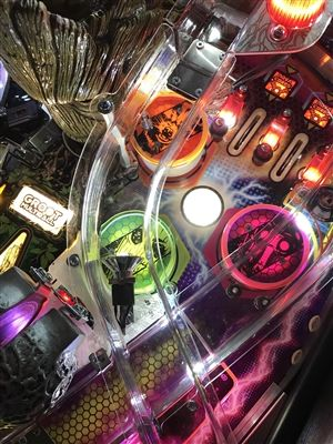 Fluorescent color enhancing Pop Bumper Plastic Protector for Stern's Guardians of the Galaxy pinball machine (3 Piece Set)