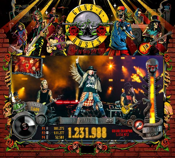 Guns N' Roses Pinball 'Limited Edition' Promotional Translite