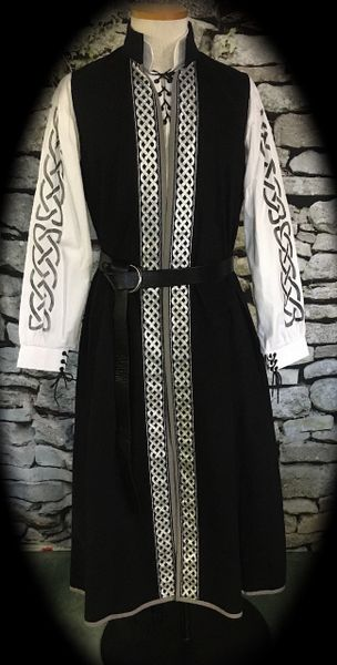 Celtic Duster Outfit - 3 garments in white/black/silver