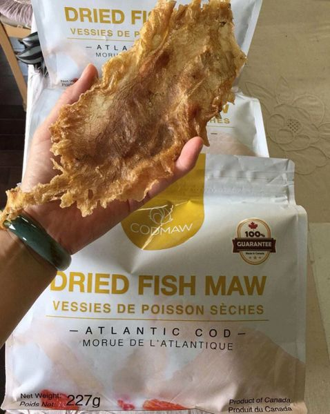 Canadian certified Wild dried fish maw 100%认证纯天然野生鱼胶1袋