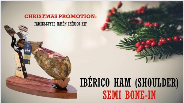 Spain Iberico Ham Set 【预订】西班牙黑毛猪火腿圣诞新年礼品箱(含火腿、火腿架和刀具)