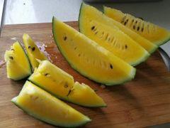 Yellow watermelon 【绵密爽口、甜脆多汁】空运黄肉黑美人西瓜一颗(6-7磅)