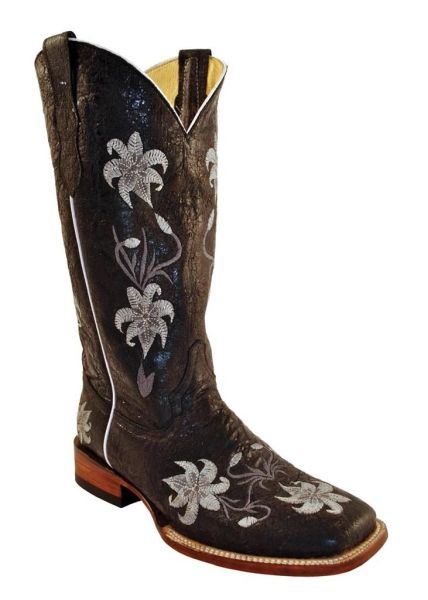 Ferrini Women's Black Floral Embroidered Square Toe Western Boot