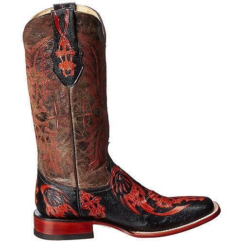 Ferrini Women's Embossed Cross Square Toe Western Boots