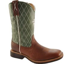 """Twisted X Youth """"Cowkid"""" Work Western Boot Cognac Glazed Pebble/Lime"""