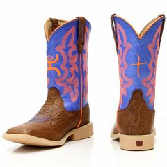 Twisted X Youth Hooey Western Boot Cognac Shoulder/Neon Blue