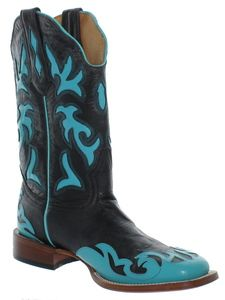 Johnny Ringo Women's Black Turquoise Inlay Square Toe Western Boot