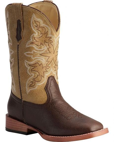 Roper Kids Tan Square Toe Child and Youth