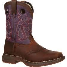 "Durango Youth 8"" Plum Top Saddle Western Boot"