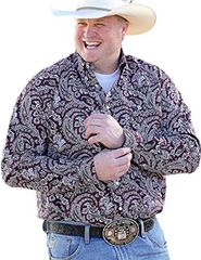 Cinch Shirt Burgundy With White Paisley