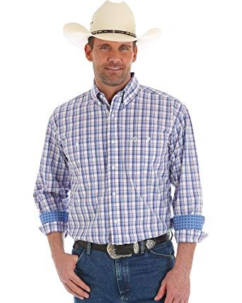 Wrangler George Strait Red White Blue Plaid Shirt