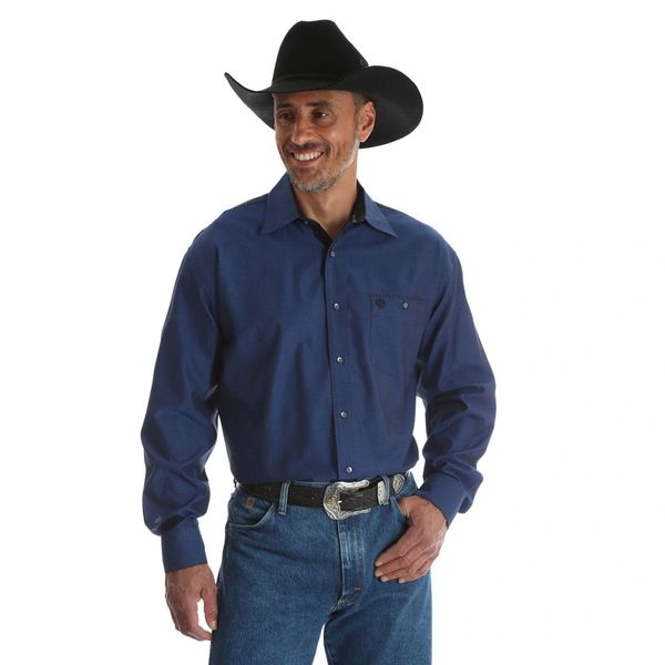 George Strait Cowboy Cut Collection By Wrangler Winter Blue Western Shirt