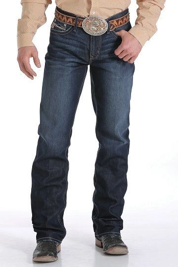 Mens Cinch Grant Label Relaxed Jeans - Dark Stonewash
