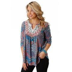 Roper Western Shirt Womens Studio West L/S Blue