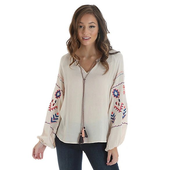 Wranglers Women's Long Sleeve Embroidered Peasant Blouse