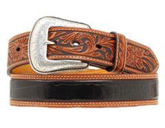 Nocona Tooled Gator Print Western Leather Belt