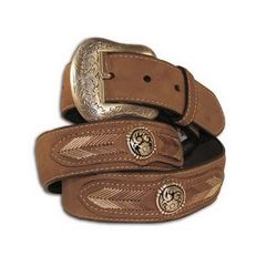 Nocona Western Belt Mens Leather Laced Conchos Copper