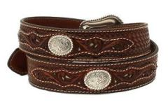 Nocona Western Mens Belt Leather Weave Pierced Overlay Concho Brown