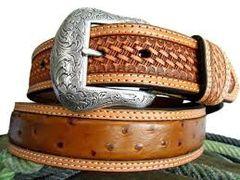 Nocona Western Mens Belt Leather Ostrich Overlay Basketweave Studs
