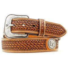 Mens Basket Weave Stamped Leather Belt