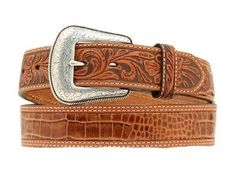 Nocona Western Mens Belt Leather Embossed Cross Rich Earth Brown