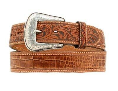 Nocona Western Mens Belt Leather Embossed Cross Rich Earth Brown