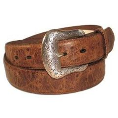 Nocona Men's Western Exotic Ostrich Print Belt & Buckle-Brown