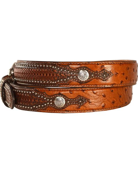 Nocona Western Ostrich Print Weave Billets Laced Leather Brown