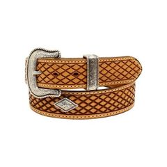 Nocona Western Belt Mens Basketweave Tooling Fort Worth