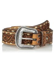 Nacona Floral Embossed Laced Edge Western Belt