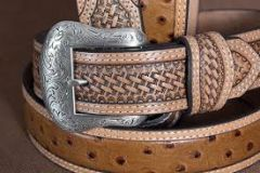 Nocona Basketweave Ostrich Print Leather Belt