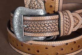 Nocona Basketweave Ostrich Print Leather Belt