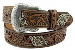 Nocona Western Belt Mens Leather Embossed Floral Red Tan