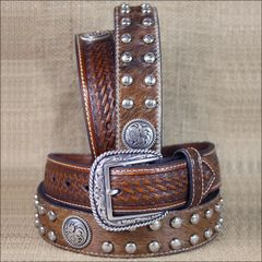 Western Ariat Leather Mens Belt Studs Conchos Basket Weave Brown