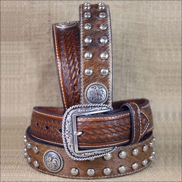 Western Ariat Leather Mens Belt Studs Conchos Basket Weave Brown
